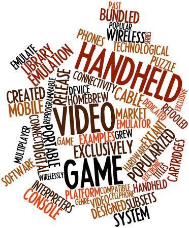 editions: Abstract word cloud for Handheld video game with related tags and terms