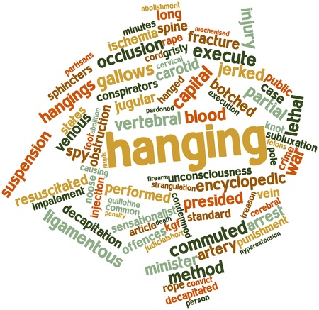 cerebral artery: Abstract word cloud for Hanging with related tags and terms