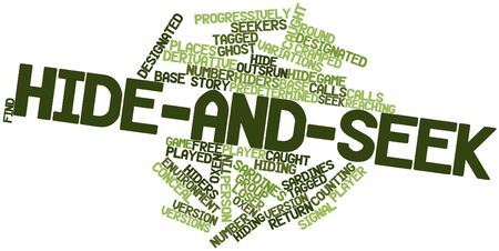 progressively: Abstract word cloud for Hide-and-seek with related tags and terms Stock Photo