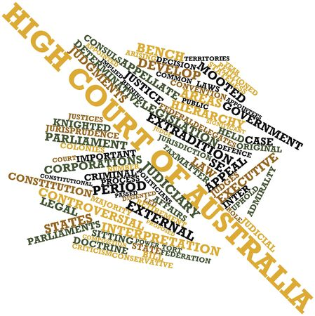 appellate: Abstract word cloud for High Court of Australia with related tags and terms Stock Photo