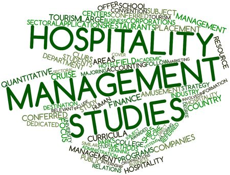 sectoral: Abstract word cloud for Hospitality management studies with related tags and terms Stock Photo