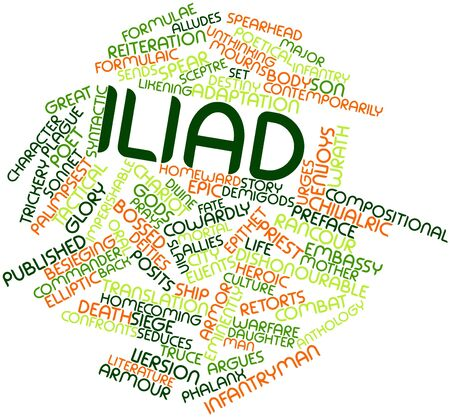 narrator: Abstract word cloud for Iliad with related tags and terms Stock Photo