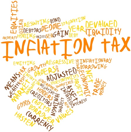 adjusted: Abstract word cloud for Inflation tax with related tags and terms Stock Photo