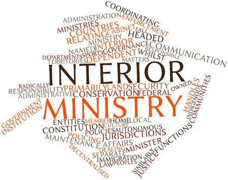 Abstract word cloud for Interior ministry with related tags and terms Stock Photo - 16982797