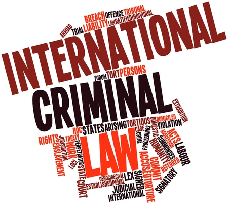 warrants: Abstract word cloud for International criminal law with related tags and terms