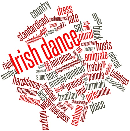 Abstract word cloud for Irish dance with related tags and terms photo