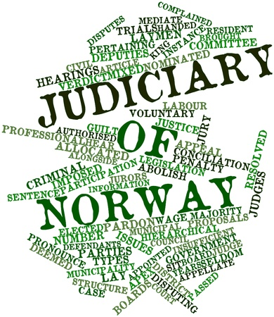 imposed: Abstract word cloud for Judiciary of Norway with related tags and terms