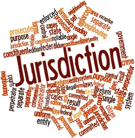 neighbouring: Abstract word cloud for Jurisdiction with related tags and terms Stock Photo