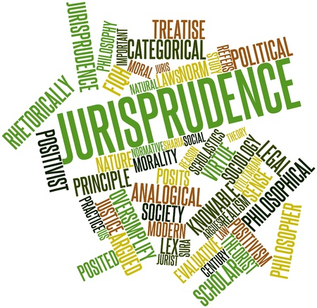 evaluative: Abstract word cloud for Jurisprudence with related tags and terms Stock Photo