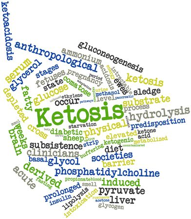 acidosis: Abstract word cloud for Ketosis with related tags and terms Stock Photo