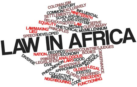 lawmaking: Abstract word cloud for Law in Africa with related tags and terms Stock Photo