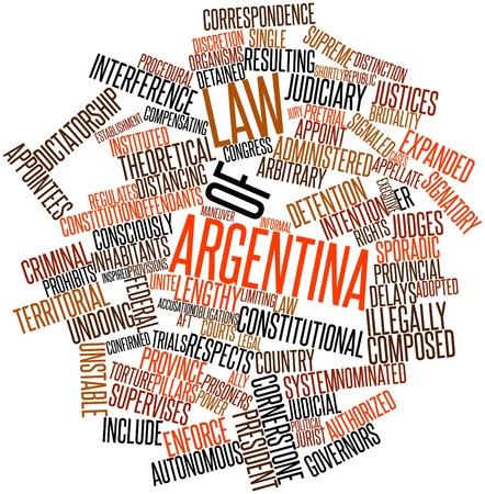 arbitrario: Nube palabra abstracta por Ley de la República Argentina con las etiquetas y términos relacionados Foto de archivo