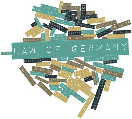 jurists: Abstract word cloud for Law of Germany with related tags and terms Stock Photo
