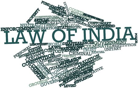 constitutional law: Abstract word cloud for Law of India with related tags and terms