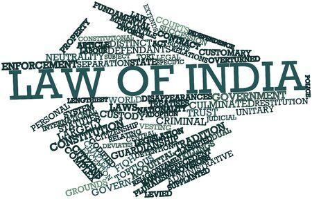 relaciones laborales: Nube de la palabra abstracta de Derecho de la India con las etiquetas y términos relacionados