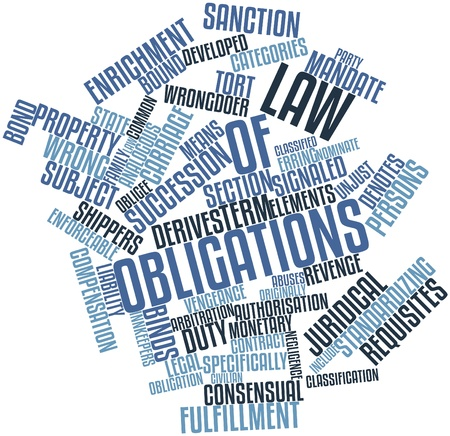 thrown: Abstract word cloud for Law of obligations with related tags and terms Stock Photo