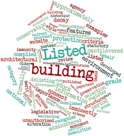 Abstract word cloud for Listed building with related tags and terms Stock Photo - 16983635