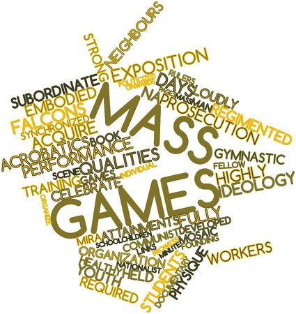 regimented: Abstract word cloud for Mass games with related tags and terms Stock Photo
