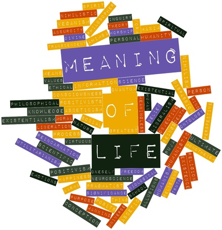 monotheism: Abstract word cloud for Meaning of life with related tags and terms Stock Photo