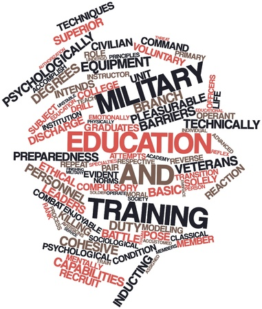 evident: Abstract word cloud for Military education and training with related tags and terms Stock Photo