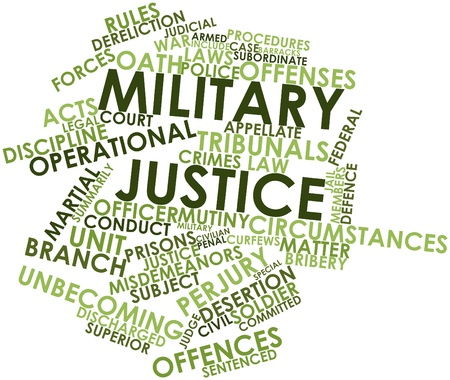 martial law: Abstract word cloud for Military justice with related tags and terms Stock Photo