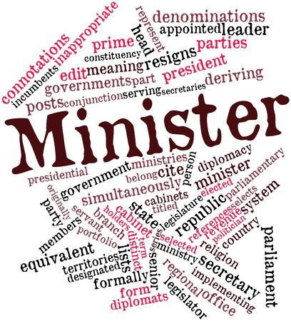 minister: Abstract word cloud for Minister with related tags and terms Stock Photo