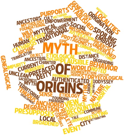 odyssey: Abstract word cloud for Myth of origins with related tags and terms Stock Photo