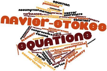 divergence: Abstract word cloud for Navier-Stokes equations with related tags and terms Stock Photo