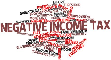 perverse: Abstract word cloud for Negative income tax with related tags and terms Stock Photo