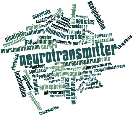 modifiable: Abstract word cloud for Neurotransmitter with related tags and terms Stock Photo