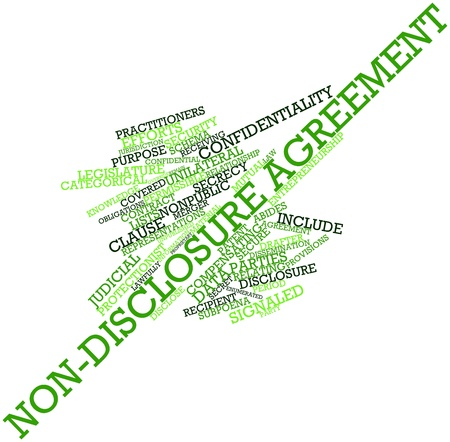 override: Abstract word cloud for Non-disclosure agreement with related tags and terms