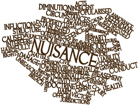 cement court: Abstract word cloud for Nuisance with related tags and terms Stock Photo
