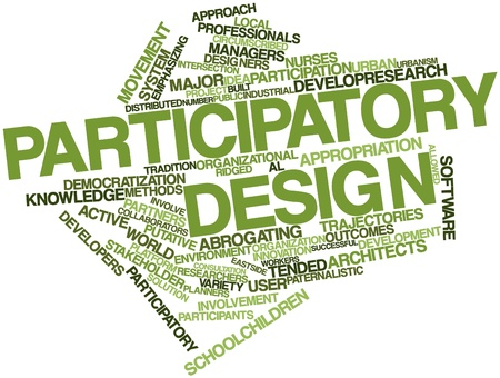 participatory: Abstract word cloud for Participatory design with related tags and terms