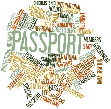 exile: Abstract word cloud for Passport with related tags and terms Stock Photo