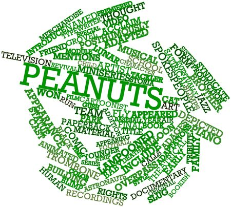 bookish: Abstract word cloud for Peanuts with related tags and terms Stock Photo