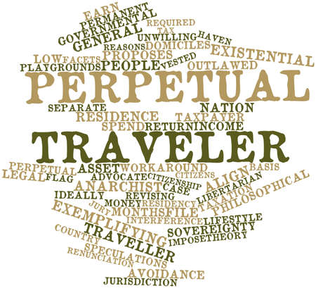 vested: Abstract word cloud for Perpetual traveler with related tags and terms