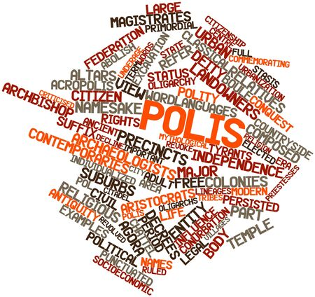 polis: Abstract word cloud for Polis with related tags and terms
