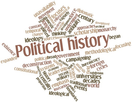 broader: Abstract word cloud for Political history with related tags and terms Stock Photo