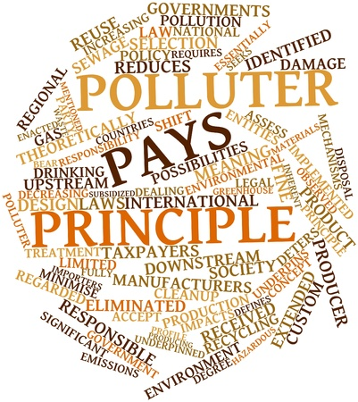 principle: Abstract word cloud for Polluter pays principle with related tags and terms Stock Photo