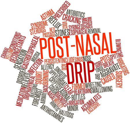sinusitis: Abstract word cloud for Post-nasal drip with related tags and terms Stock Photo