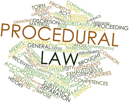 Abstract word cloud for Procedural law with related tags and terms