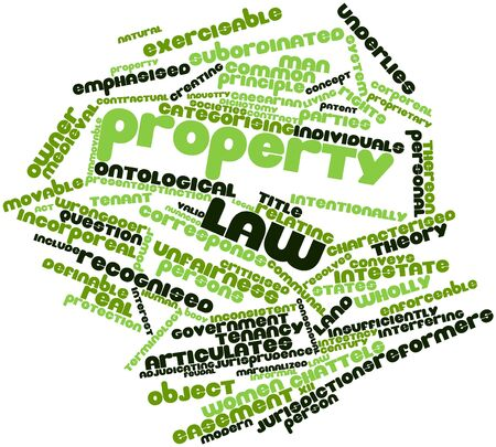 immovable property: Abstract word cloud for Property law with related tags and terms Stock Photo