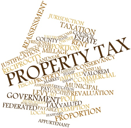 exemption: Abstract word cloud for Property tax with related tags and terms Stock Photo