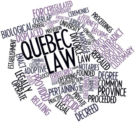 pertaining: Abstract word cloud for Quebec law with related tags and terms