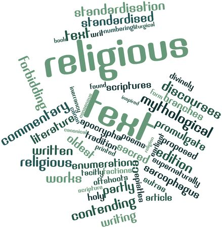 Abstract word cloud for Religious text with related tags and terms
