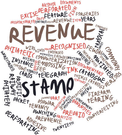 warned: Abstract word cloud for Revenue stamp with related tags and terms