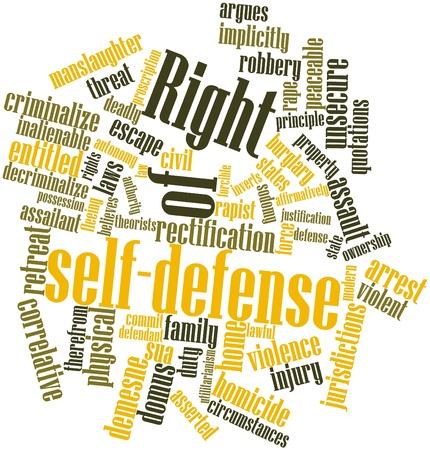 defensa personal: Nube palabra abstracta por derecho de legítima defensa con las etiquetas y términos relacionados Foto de archivo