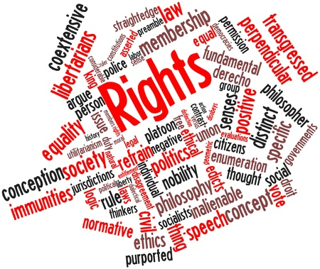 jurisdictions: Abstract word cloud for Rights with related tags and terms Stock Photo