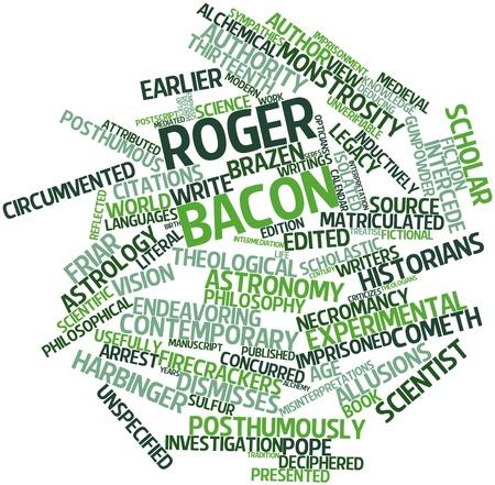 historians: Word cloud astratto per Roger Bacon con tag correlati e termini Archivio Fotografico