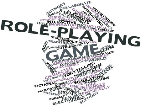 tabletop: Abstract word cloud for Role-playing game with related tags and terms
